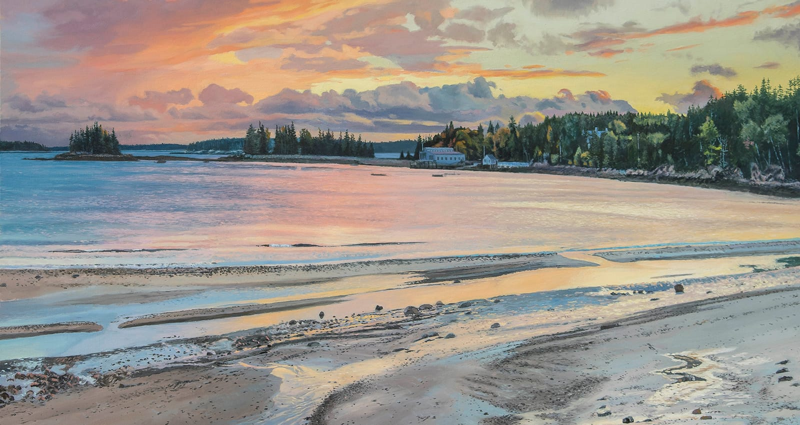 painting of a sunset over seal harbor maine