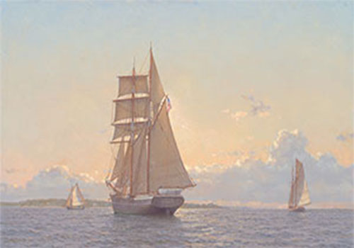 painting of a sailboat at full sail cutting through the water