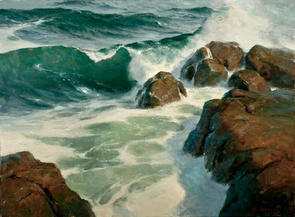 painting of waves crashing against the coast
