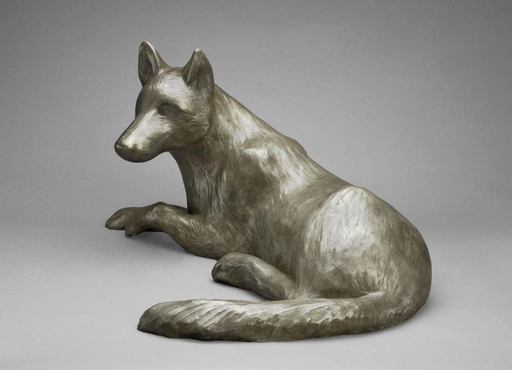 sculpture of arctic wolf