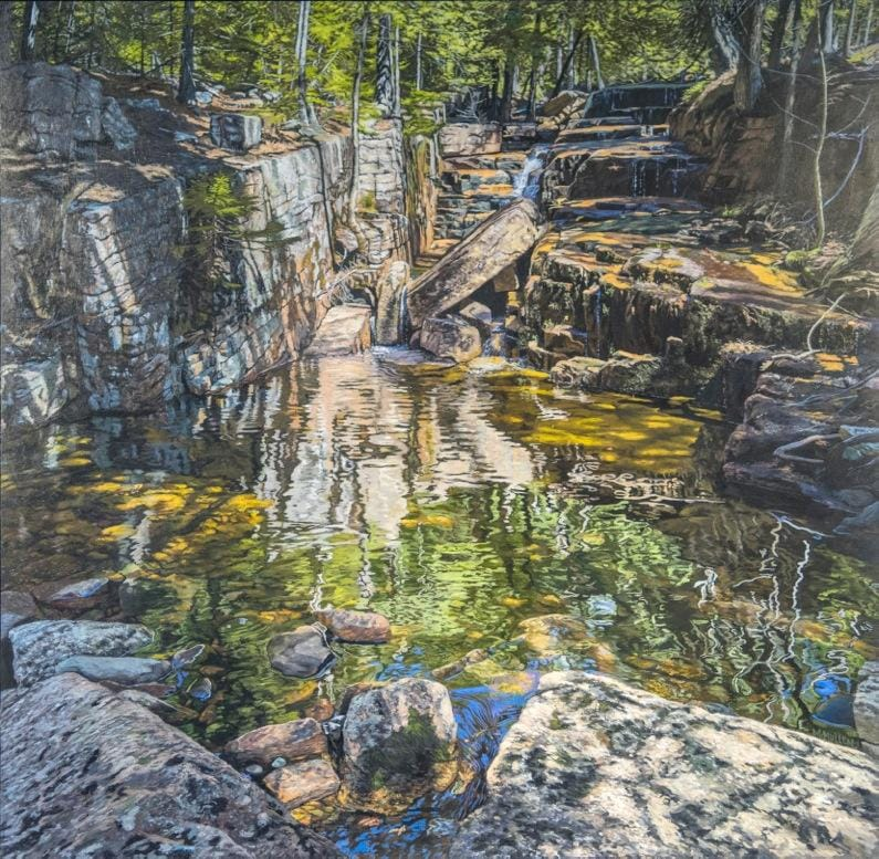 painting of stream off a hiking trail off cadillac mountain