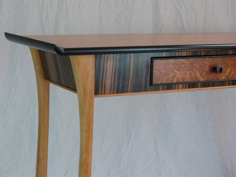 close up of hand made cherry desk