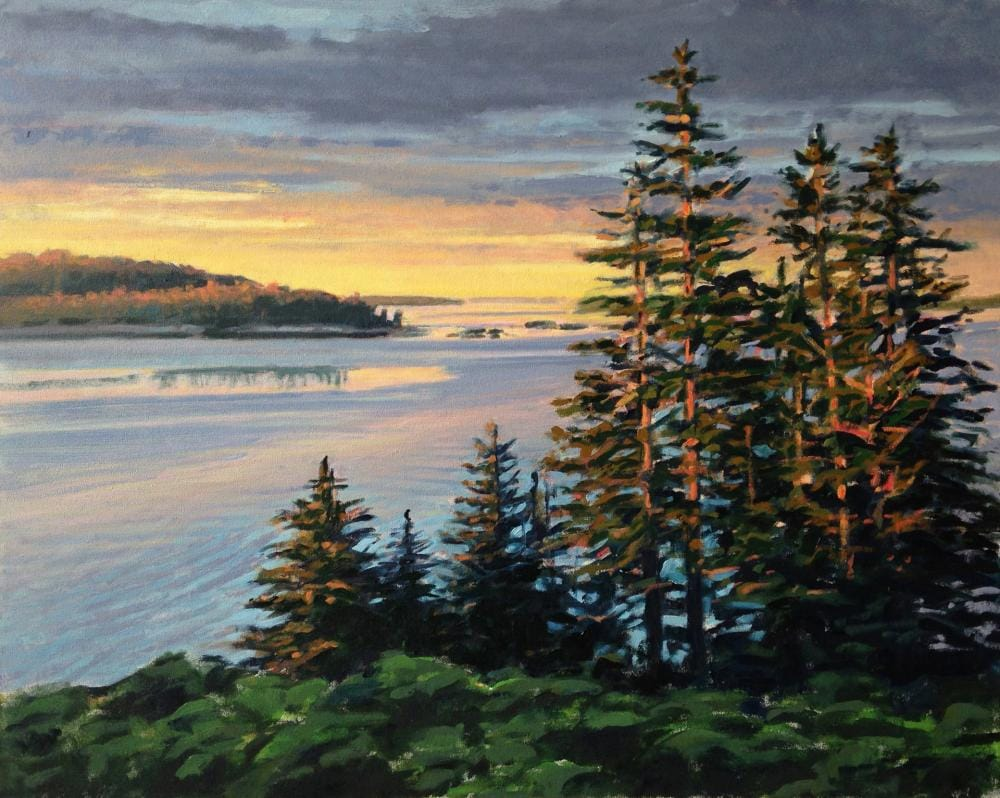 painting of spruce trees on a point overlooking the ocean at sunrise