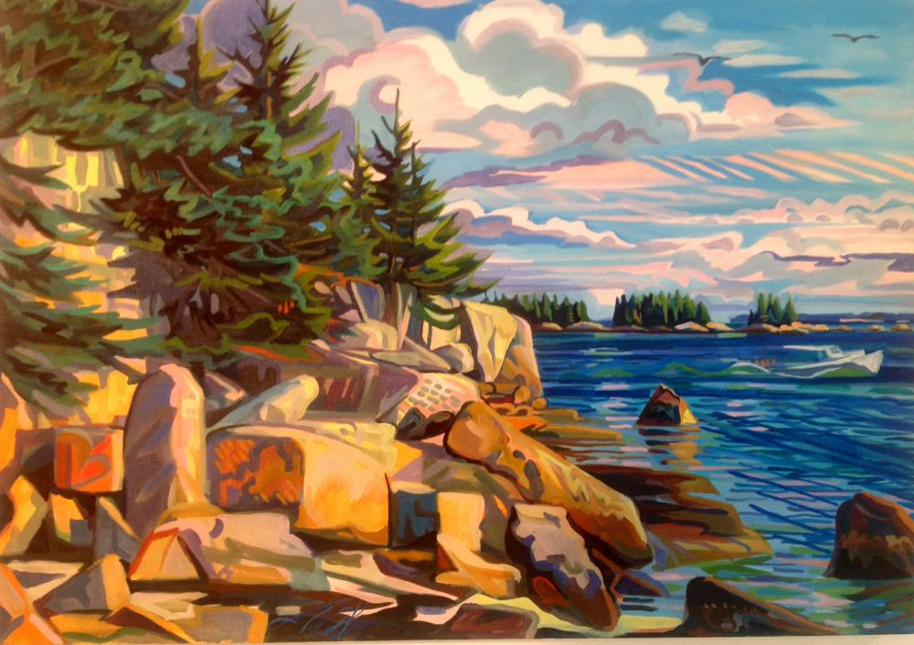 painting of rugged maine coastline