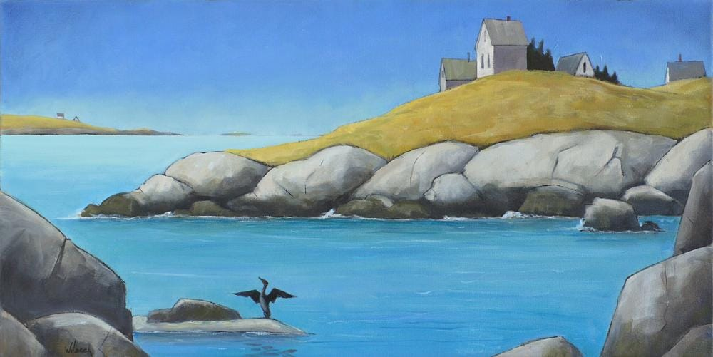 painting of a cove with a house on the shoreline